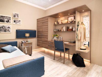Stiegelmeyer stattet das Bewohnerzimmer komplett aus – mit Pflegebett, Nachttisch, Schränken, Ti-schen und Stühlen. - Foto: Stiegelmeyer