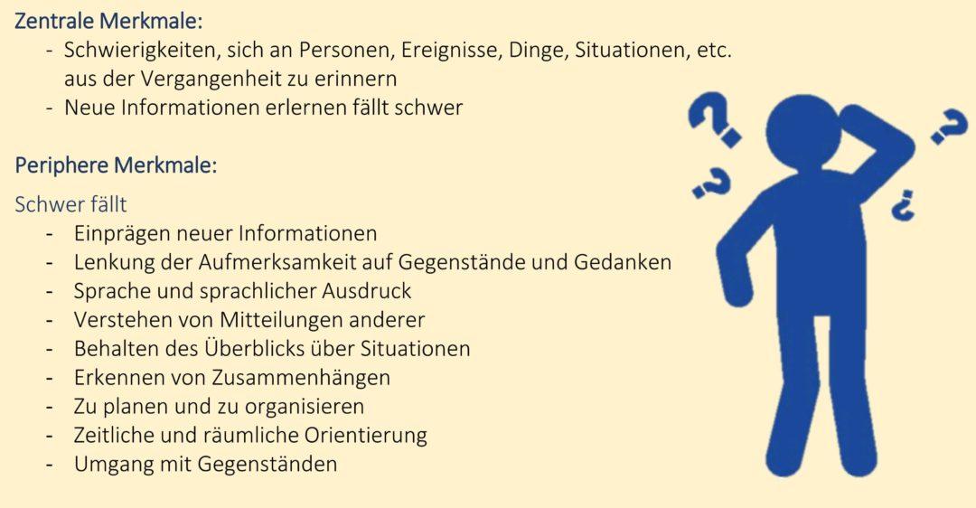 Zentrale und periphere Merkmale von Demenz - Grafik: Haarig