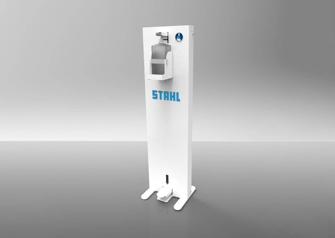 Die neue STAHL Desinfektionssäule mit Tretbedienung