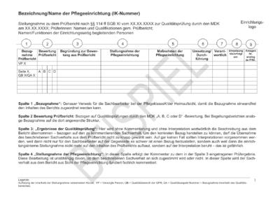 Stellungnahme Prüfbericht Beispiel 1